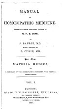 Manual of Homoeopathic Medicine