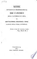 Serie istorico-cronologica dei canonici della cattedrale di Adria