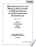 Reintroduction of the Mexican Wolf Within Its Historic Range in the Southwestern United States