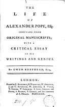 download ebook the life of alexander pope; with a critical essay on his writings and genius pdf epub