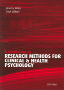 A Handbook of Research Methods for Clinical and Health Psychology