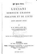Luciani Somnium  Charon  Piscator  Et De Luctu