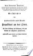 Carl Renati Hausens Geschichte der Universität und Stadt Frankfurt an der Oder