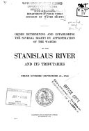 Order Determining and Establishing the Several Rights by Appropriation of the Waters of the Stanislaus River and Its Tributaries