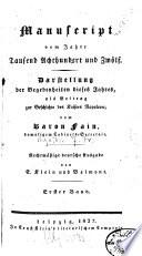 Manuscript vom Jahre Tausend Achthundert und Zw  lf