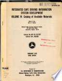 Integrated Safe Driving Information System Development Catalog Of Available Materials