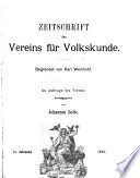 Zeitschrift des Vereins f  r Volkskunde