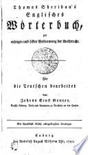 Thomas Sheridan's Englisches Wo rterbuch,