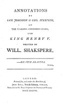 Annotations Upon King Henry V. and King Henry VI.
