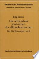"""Die schwachen """"jan""""-Verben des Althochdeutschen"""