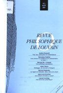 Revue Philosophique De Louvain