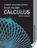 Student s Solutions Manual for Single Variable Calculus