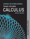 Student's Solutions Manual for Single Variable Calculus