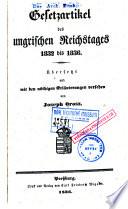 Gesetzartikel des ungrischen Riechstages 1832 bis 1836