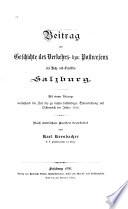 Beitrag zur Geschichte des Verkehrs- bzw. Postwesens des Hoch- und Erzstiftes Salzburg