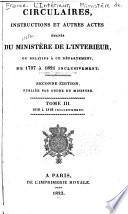 Circulaires  instructions et autres actes   man  s du Minist  re de l interieur  ou  relatifs    ce d  partement