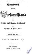 Verzeichniß über den Personal-Stand der Säkular- und Regular-Geistlichkeit der bischöflichen St. Pöltnerdiözese