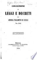 Collezione di leggi e decreti del General Parlamento di Sicilia nel 1848
