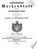 Landwirthschaftliches Wochenblatt f  r das Grossherzogthum Baden