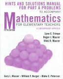 Mathematics for Elementary Teachers, Hints and Solutions Manual for Part A Problems