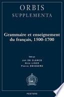 Grammaire et enseignement du fran  ais  1500 1700