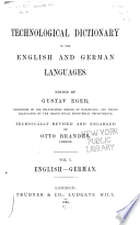 Technological Dictionary in the English and German Languages  English German   vol  II  German English