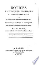 Notices historiques  critiques et bibliographiques