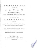 Observations Made in Savoy, in Order to Ascertain the Height of Mountains by Means of the Barometer