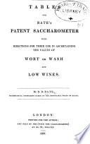 Tables for Bate's Patent Saccharometer, etc