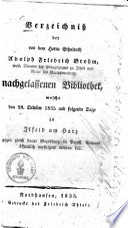 Verzeichnis der von dem Herrn Schulrath Adolph Friedrich Brohm, weil. Director ...