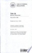 Code of Federal Regulations  Title 30  Mineral Resources  Pt  200 699  Revised As of July 1 2012