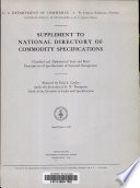Supplement to National Directory of Commodity Specification