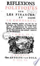 Réflexions politiques sur les finances et le commerce par Charles Dutot