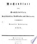 Wochenblatt f  r Buchh  ndler  Musikh  ndler  Buchdrucker und Antiquare