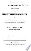 Einleitung in das Studium der Rechtswissenschaft
