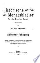 Historische Monatsbl  tter f  r die Provinz Posen