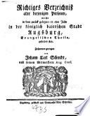 Richtiges Verzeichniß aller derjenigen Personen, welche in dem zurück gelegten ... Jahr in der Königlich Baierischen Stadt Augsburg, Evangelischen Theils, gestorben sind
