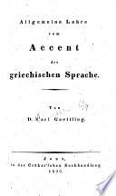 Allgemeine Lehre vom Accent der Griechischen sprache