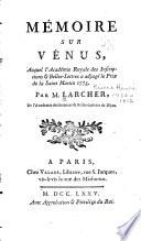 Mémoire sur Vénus