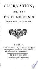Observations sur les écrits modernes