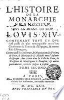 L Histoire De La Monarchie Francoise Sovs Le Regne Dv Roy Lovis XIV