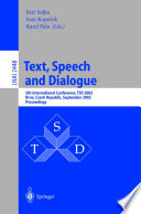 Text  Speech and Dialogue
