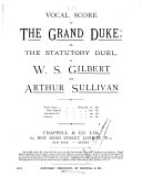 Vocal Score of The Grand Duke