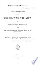 Living Conditions of the Wage earning Population in Certain Cities of Massachusetts