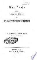 Versuche uber einzelne Lehren der Strafrechtswissenschaft von Ferd. Carl Theodor Hepp ..