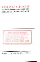 Verzeichnis der lieferbaren B  cher des Verlages Georg M  ller  1924 1925