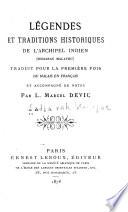 Légendes et traditions historiques de l'Archipel indien