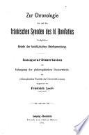 Zur Chronologie der auf die fränkischen Synoden des hl. Bonifatius bezüglichen Briefe der bonifazischen Briefsammlung