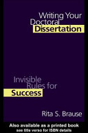 Writing Your Doctoral Dissertation