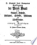 D  Siegmund Jacob Baumgartens Auslegung der Briefe Pauli an die Galater  Epheser  Philipper  Colosser  Philemon und Thessalonicher